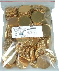 Buy Chocolate Medallions Gold in 1kg bags for weddings or other celebrations at Moo-Lolly-Bar